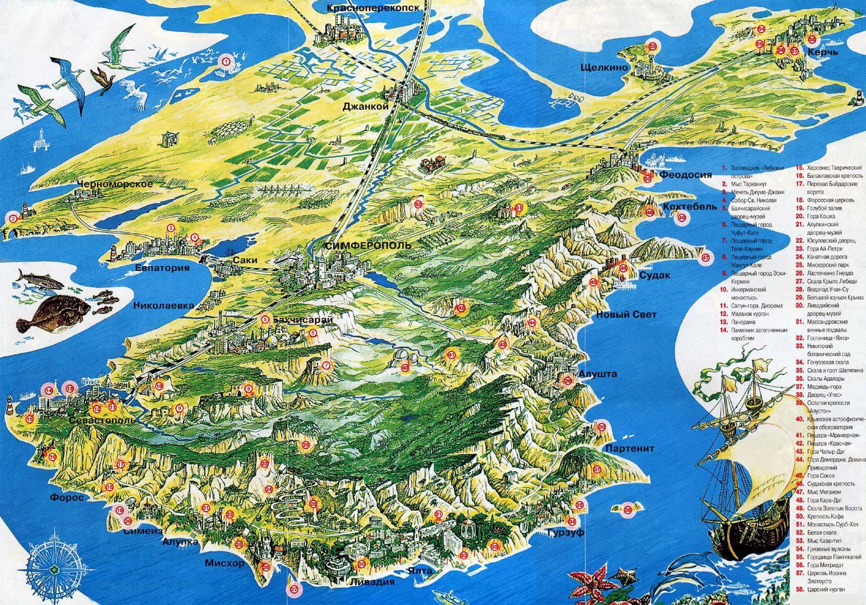 Крым. Туристическая карта с достопримечательностями