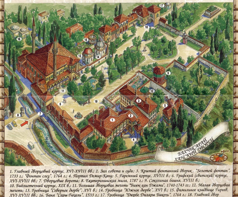 Бахчисарай. Ханский дворец. Карта