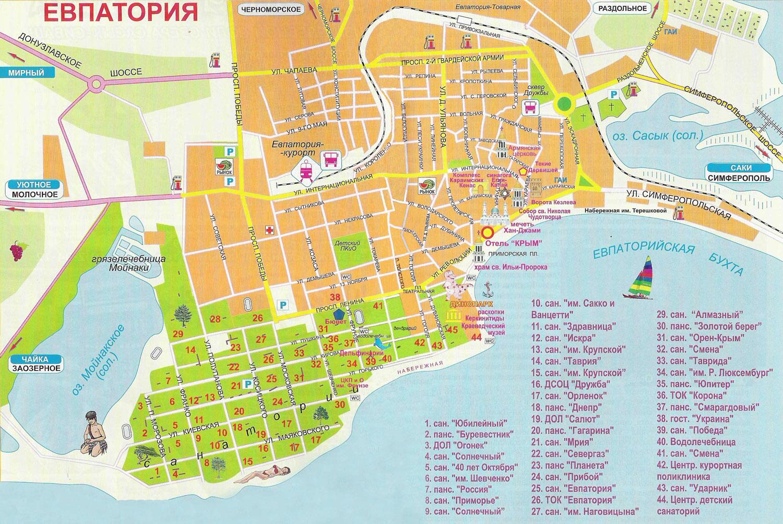 Карта санаториев Евпатории
