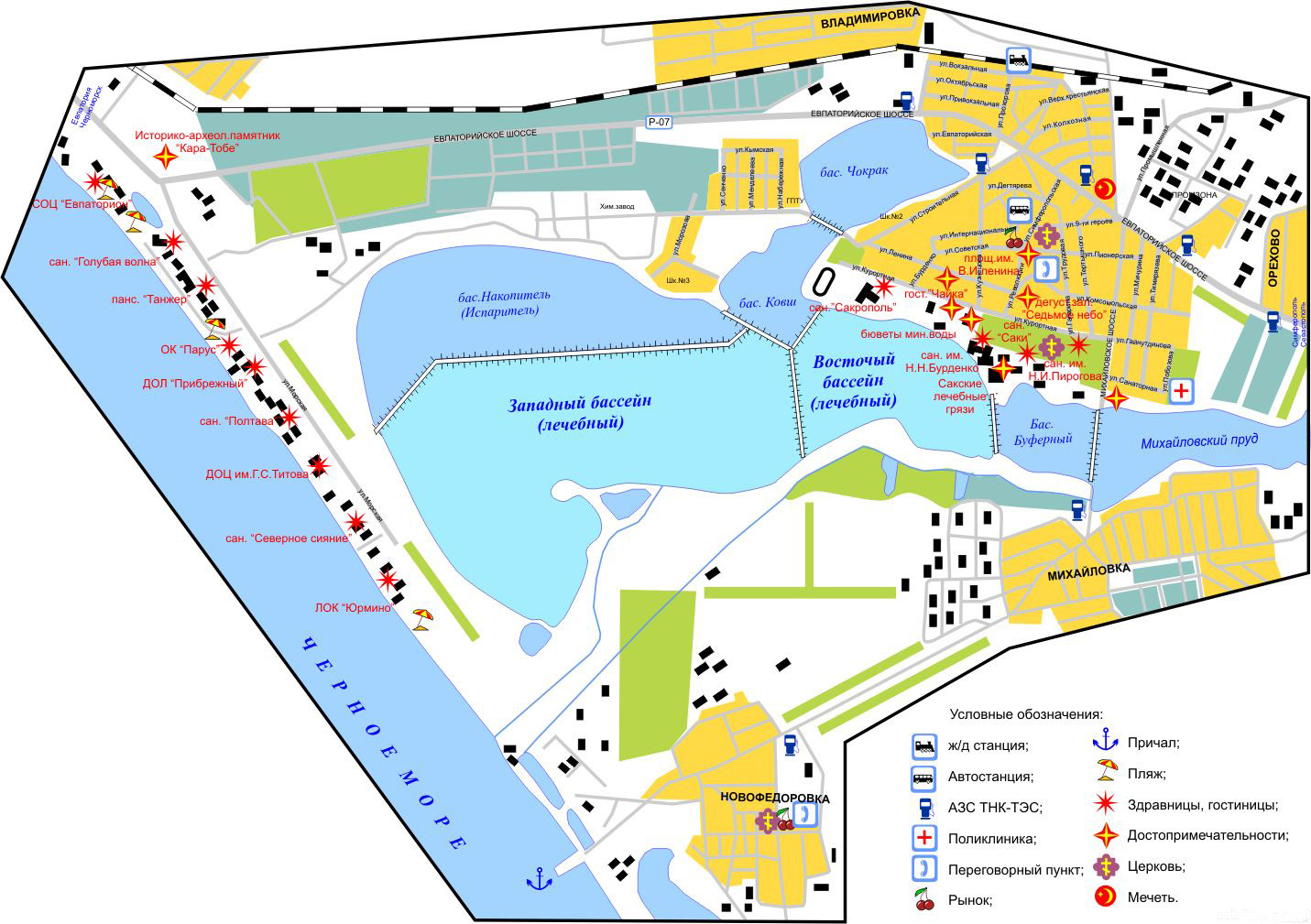Подробная карта Саки с достопримечательностями